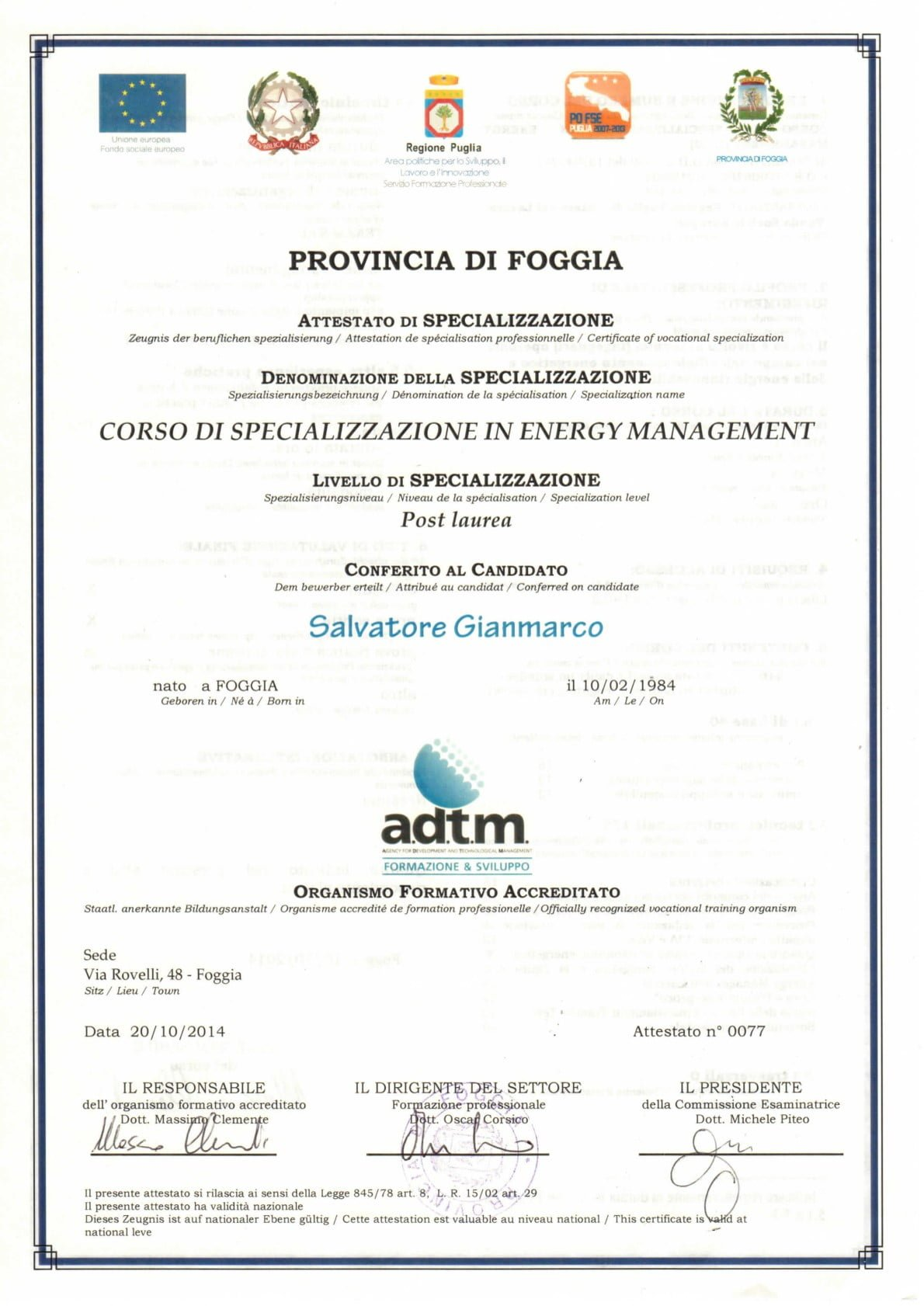 Specializzazione in Energy Management