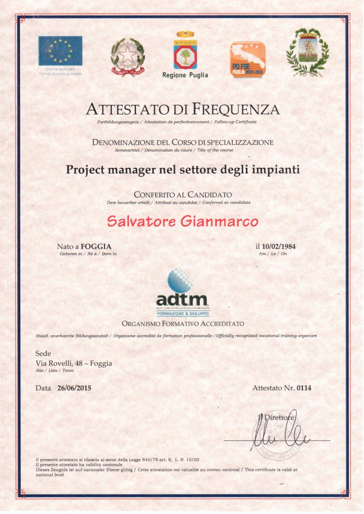 Specializzazione in Project Manager nel settore degli impianti