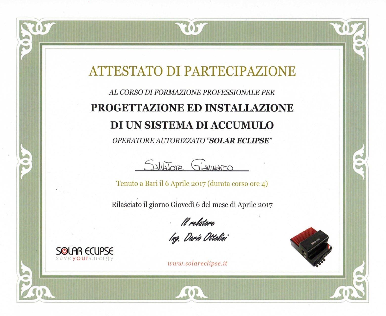 Corso progettazione ed installazione sistema di accumulo Solar Eclipse